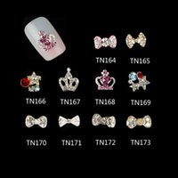 ab crowns - 10 D Bow Crown Pentagram Alloy Nail Art Decorations Pink AB Red Glitter Rhinestones For Nails Tools TN164