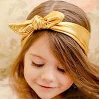 Wholesale Cute Baby Girls Toddler Stretch Ear Turban Knot Hairband Rabbit Bow Headband