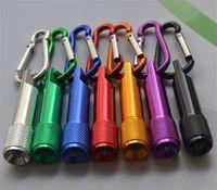 Cheap Hot Mini LED Flashlight Aluminum Alloy Torch with Carabiner Ring Keyrings Key Chains Sport Mini led flashlights wholesale keychain key ring