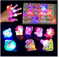 Wholesale Fashion children cartoon LED flash Santa Claus ring LED finger light Christmas flash toys mix style