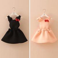 air bow - autumn girls bow sprouting air cotton vest skirt childrens clothes minion cute skirt Strap skirt