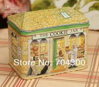 tin box - Chocolate tin box Cookie Jar biscuit box Bakery pattern case candy tin box food tin