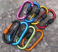 Wholesale 10Pcs cm Aluminum Alloy D Shape Screw Lock Mounting Carabiner Snaphook Hook Buckle