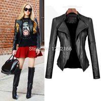 Wholesale female Vintage Women Black Soft Slim Biker Zipper Short Jacket Cool t Faux Leather PU Slim Biker Motorcycle Zipper Coat A3