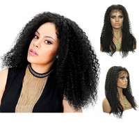 Wholesale Gorgeous Sexy kinky Curly Indian Human Hair Remy Glueless Lace front Full Lace Wigs Loose Curly quot off Black Make You Charming
