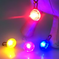 Wholesale Pet Pendant SpotLit Pet Dog Collar Zipper Keychain Keyring Safety Light Multi Color Disc O LED Carabiner Hot Sale Xmas Gift