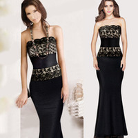 disposable dress - Maxi Long Dresses Evening Black Lace Gowns Strapless Tee Dress With Disposable Spaghetti Strap Fishtail Dresses