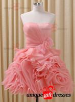 al por mayor dress for graduation-Juvenil moderno graduación vestidos de bola vestido de novia corto Prom Dresses Organza Bow W2954
