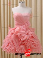 Wholesale Youthful Modern Graduation Dresses Ball gown Sweetheart Short Prom Dresses Organza Bow W2954