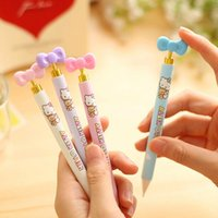 mechanical pencil - Fashion Cute Pink Cat mechanical pencils Bow press style for school kids girls students writing prize mm dandys