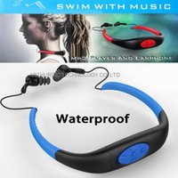 Wholesale 8GB Waterproof MP3 Music Player Underwater Swiming Surfing Diving Neckband Sports Stereo Earphone Headset Handsfree FM Radio Rechargeable