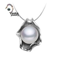 silver - Veeka jewelry real freshwater pearl pendant with silver chain sterling silver necklace fashion necklace for women