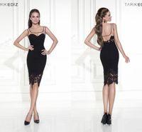 Wholesale 2015 Tarik Ediz Cocktail Dress Black Sheath Square Lace Embroideries Sleeveless Zipper Back Knee Length Evening Homecoming Prom Party Dress