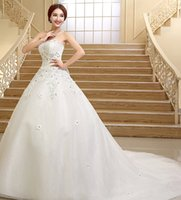 Wholesale Sexy luxury crystals Sweetheart Beading Applique lady wedding dresses bride dress evening gowns Bridal Dresses Gowns Dress Custom