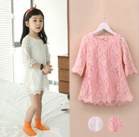 Wholesale Fashion Korean Children Clothing Beautiful White Girls Lace Dress Princess Mini Dresses Kid Baby Clothes