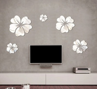 Wholesale New Fashion Flower Mirror Wall Art Mural Decal Sticker DIY Home Decoration Hibiscus Decal Mirror Wall Decor