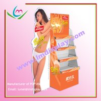 floor stand display shelf - customized flooring full color printing flat packed point of sale corrugated paper shelf cardboard display stand