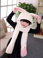 Wholesale Animal Scarf Hat Glove Set For Children Rabbit Panda Style Winter Hat Girls Hoods scarf