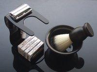 acrylic bowl stand - WEISHI Safety Razor Aluminum alloy M with black ACRYLIC shaving brush stand blades Bowl Shaving brush NEW