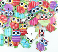 Wholesale 50 Mixed Owl Shape Pattern Wooden Buttons Fit Sewing Scrapbook DIY Making Hot