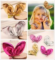 Artificial Leather fashion hair ornament - New Arrival Infant Baby Girls Shinny Barrettes Toddlers Fashion D Bunny ear lovely Ornaments Children s hair accessories