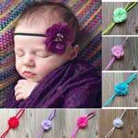 Wholesale 2016 new drill chiffon hand stitched cloth ribbon flower elastic hair band baby hair accessories for children SKU A011