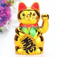 aa cat - Chinese Wealth Lucky Waving for Cat Beckoning Maneki Golden Powered by AA Battery