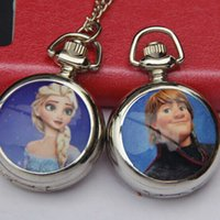 Wholesale 10pcs Frozen Princess Elsa Anna Pocket Watch cm Diameter Children Cartoon Pendant Watch sw102