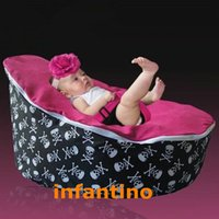 Wholesale PIRATE SKULL PINK SEAT Perfect and elegant design baby bean bag soft baby bean bag