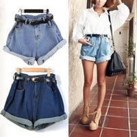 high waisted shorts - S New Women Retro Girl High Waisted Oversize Crimping Jeans Pants Shorts with Belt