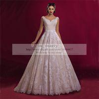 Wholesale Champagne Vintage Lace Plus Size Wedding Dresses A Line Sweetheart Arabic Designer Islamic Wedding Dresses Bridal Gowns Custom Made