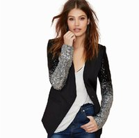 western suits - Women Elegant Sequins Pu Patchwork Slim Suits Blazers Gradient Fashion V Neck Outwear Western Fashion Casual OL Suit Blazer Outwears
