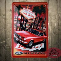 antique lithograph - ON THE STRIP FORD MUSTANG FAST BACK Collectible LITHOGRAPH METAL SIGN