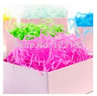 Wholesale Rayon Raffia Gift Boxes Filler In Multi color Raffia Shred Paper Crinkle Cut g