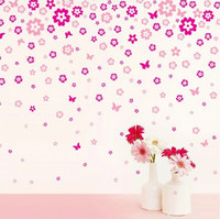 bedroom color pictures - romantic pink small broken flower wall sticker sitting room bedroom wedding housing picture multi color optional can be removed