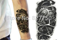 Wholesale Temporary tattoos D black mechanical arm fake transfer tattoo stickers hot sexy cool men spray waterproof designs