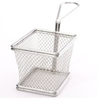 Wholesale 1Pcs Stainless Steel Fryer Serving Food Presentation Basket Kitchen French Fries Novelty Kitchen Cooking Tools