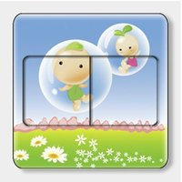 bean sprout baby - 90 mm Lovely Bean Sprouts Baby Room Wall Stickers Decoration Switch Stickers FM034