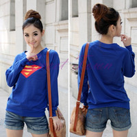 Cheap 2014 Hot Selling Korea Superman Logo Print Women T-shirt Long Sleeve Cotton T-Shirt Casual Round Neck Tops Cute Tees SV17 6170