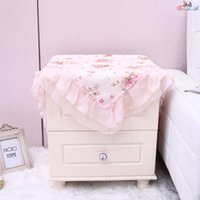 Wholesale High Quality Flowers White Square Table Cloth Home Decor Dining Covers Tablecloths Bedside Cabinet Cover