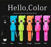 Wholesale New Wired Selfie Stick Mini Handheld Monopod Built in Shutter Extendable Mount Holder For iPhone Samsung Smartphone DHL Freeship
