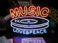 Wholesale Music Love NEON SIGN HANDICRAFT CUSTOM REAL GLASS TUBE LIGHT SIGNS BAR BEER PUB STORE HUNG WALL