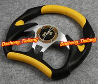 Wholesale Universal PU Leather Stitching Sport JDM Auto Car Racing Steering Wheel YELLOW Spare Parts and Accessories Replacements order lt no track