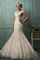 Cheap 2014 Amelia Sposa V Neck Cap Sleeve Lace Tulle Mermaid Wedding Gowns Appliqued Fit Flare Sheer Backless Plus Size Bridal Party Dresses