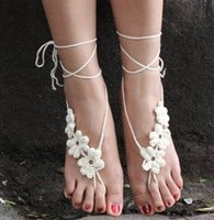 Wholesale Bridal Sexy Crochet Barefoot Sandals Beach Wedding handmade flower Fashion Women toe ring Ankle Bracelet Yoga Shoes Foot Jewelry Valentine