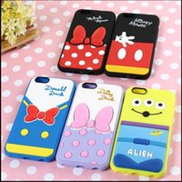 Wholesale Cartoon figure Mickey Minnie Mouse Winnie Bear Donald Duck Silicon soft Case Cover for Iphone S G