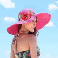 Cheap Women New Hats Caps Wide Brim Hats Sun Caps 2015 New Summer Beach Fashion Caps Straw Flower Beach Sun Protection Hat CC-409