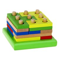 Wholesale NEW wooden EDUCATIONAL toy STACKING JIGSAWS puzzle game