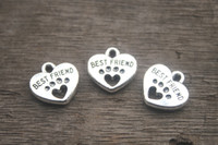 antique silver heart - 20pcs Best Friend Charms Antique silver Tone with Heart Dog Paw charm pendants x15mm