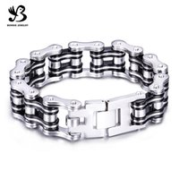 heavy bikes - Fashion High Quality L Stainless Steel Silicone Heavy Bike Chain Bracelets for Men SB01747